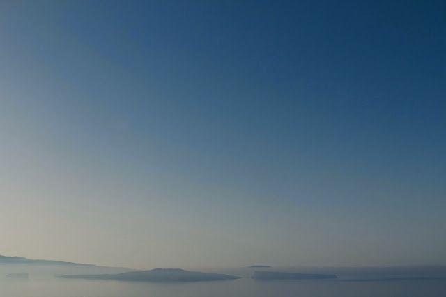 fog over santorini