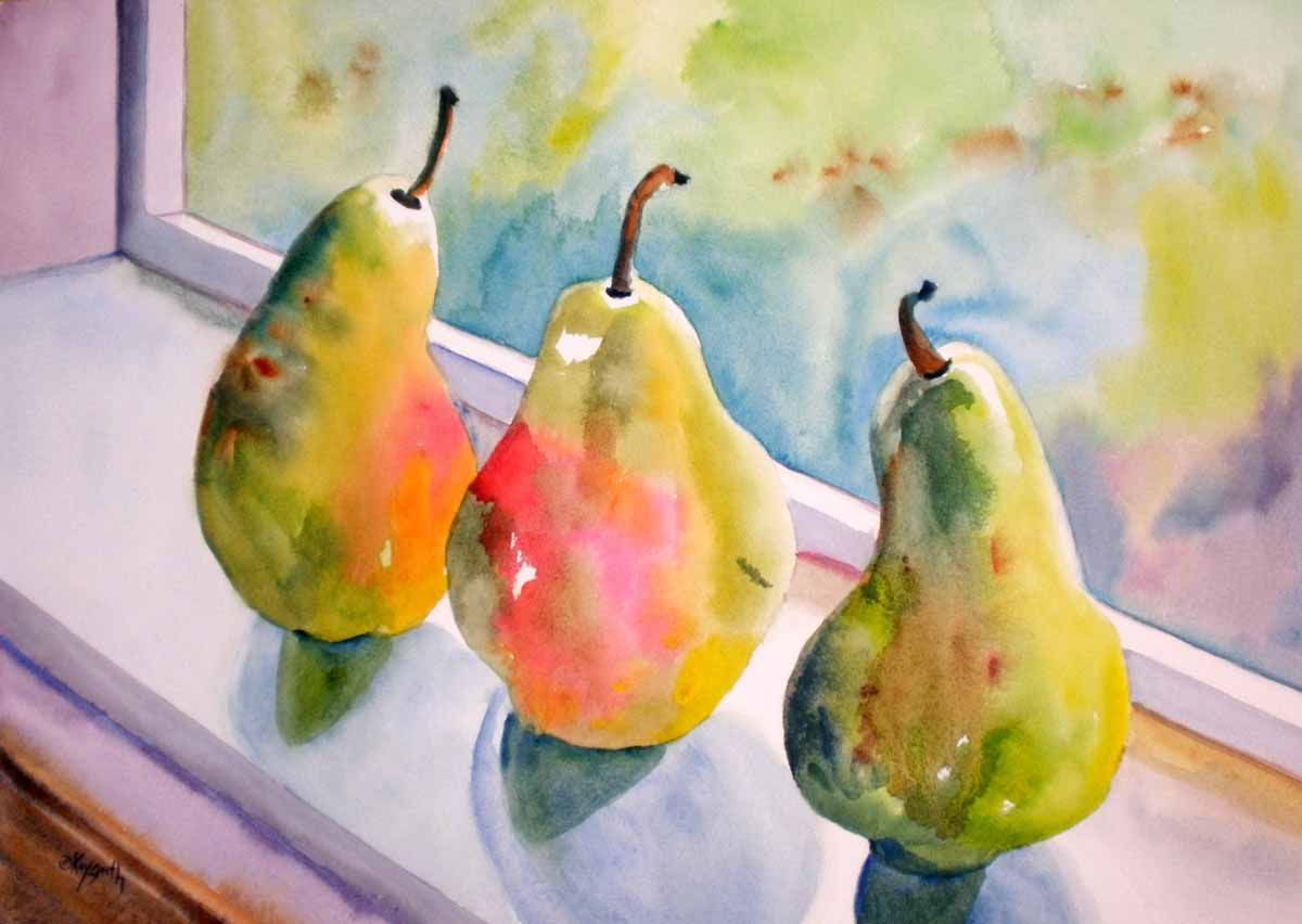 Pears Ripening Original art painting by Kay Smith - DailyPainters.com