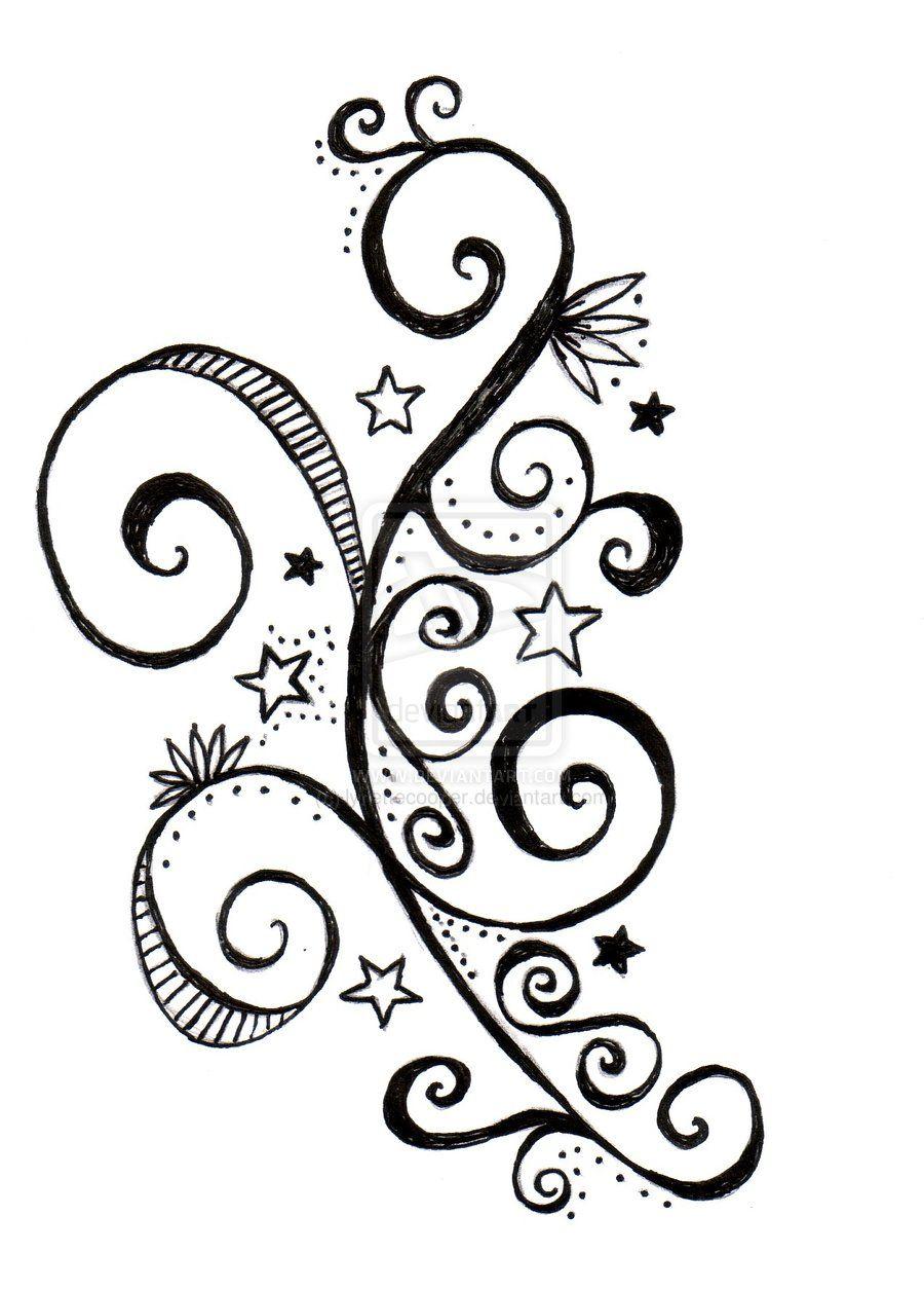 Star And Swirls Tattoo Design By Lynettecooper Deviantart Com Swirl Tattoo Tattoo Designs Butterfly Tattoo On Shoulder