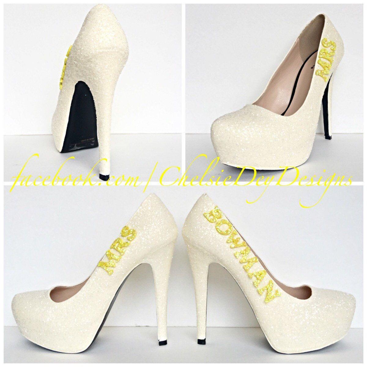 Mrs Wedding Glitter High Heels