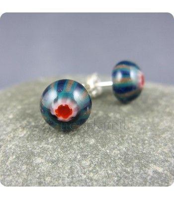 Murrini Pips earrings, lampwork glass, st. silver