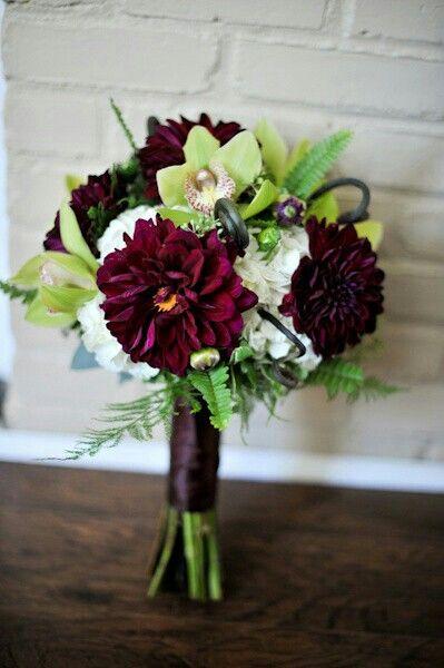 Beautiful Wedding Bouquet: White Hydrangea, Lime Cymbidium ...