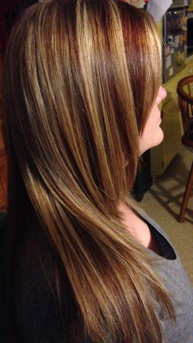 Multi Color Foils Dark Blonde Base With Hilift Blonde Hilight Red