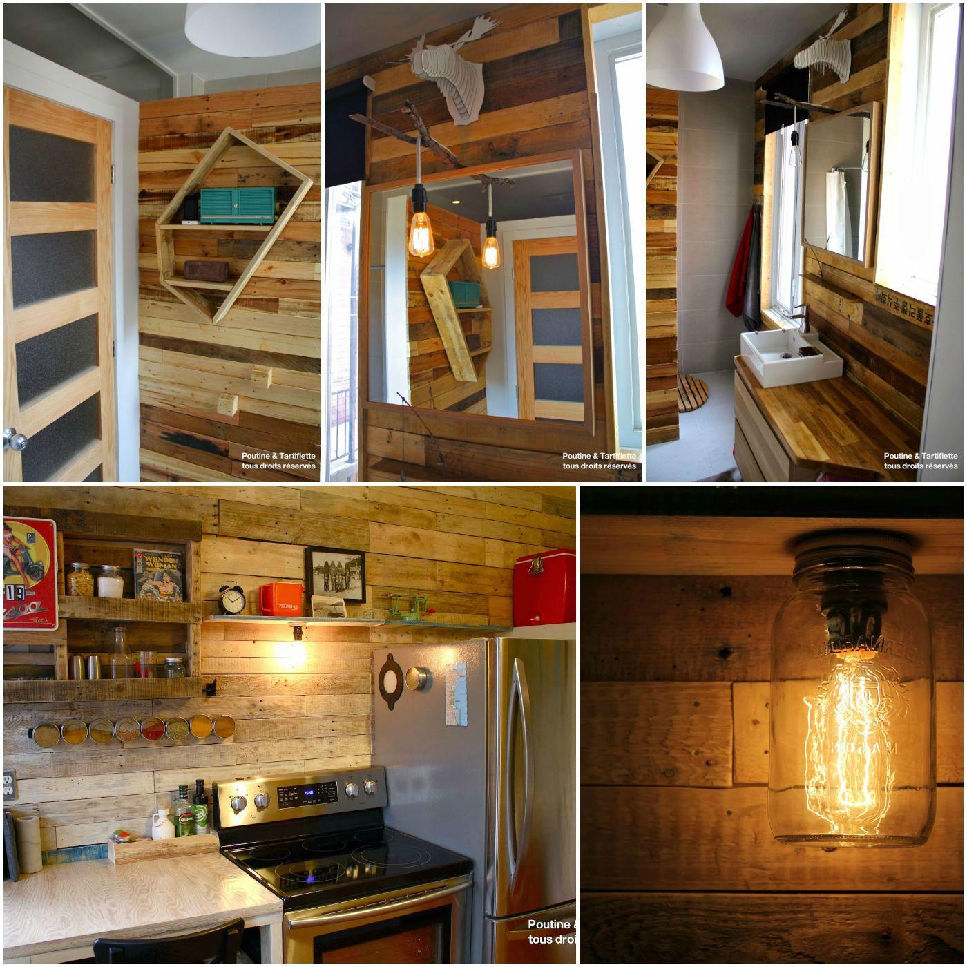Salle de bain avec mur en palettes pallet walls for Meuble palette montreal