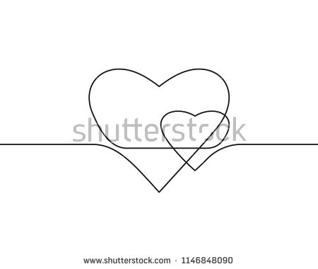Continuous Line Drawing Of Two Hearts Black And White Vector