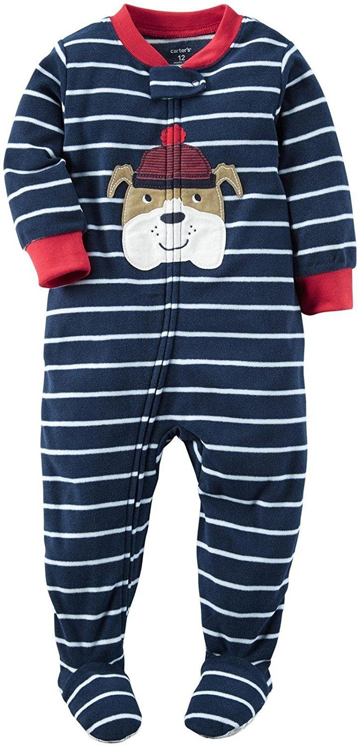 36a84d37d Carter's Baby Boy Size 6 Month One Piece Fleece Footed Pajamas, Navy Stripe  Dog