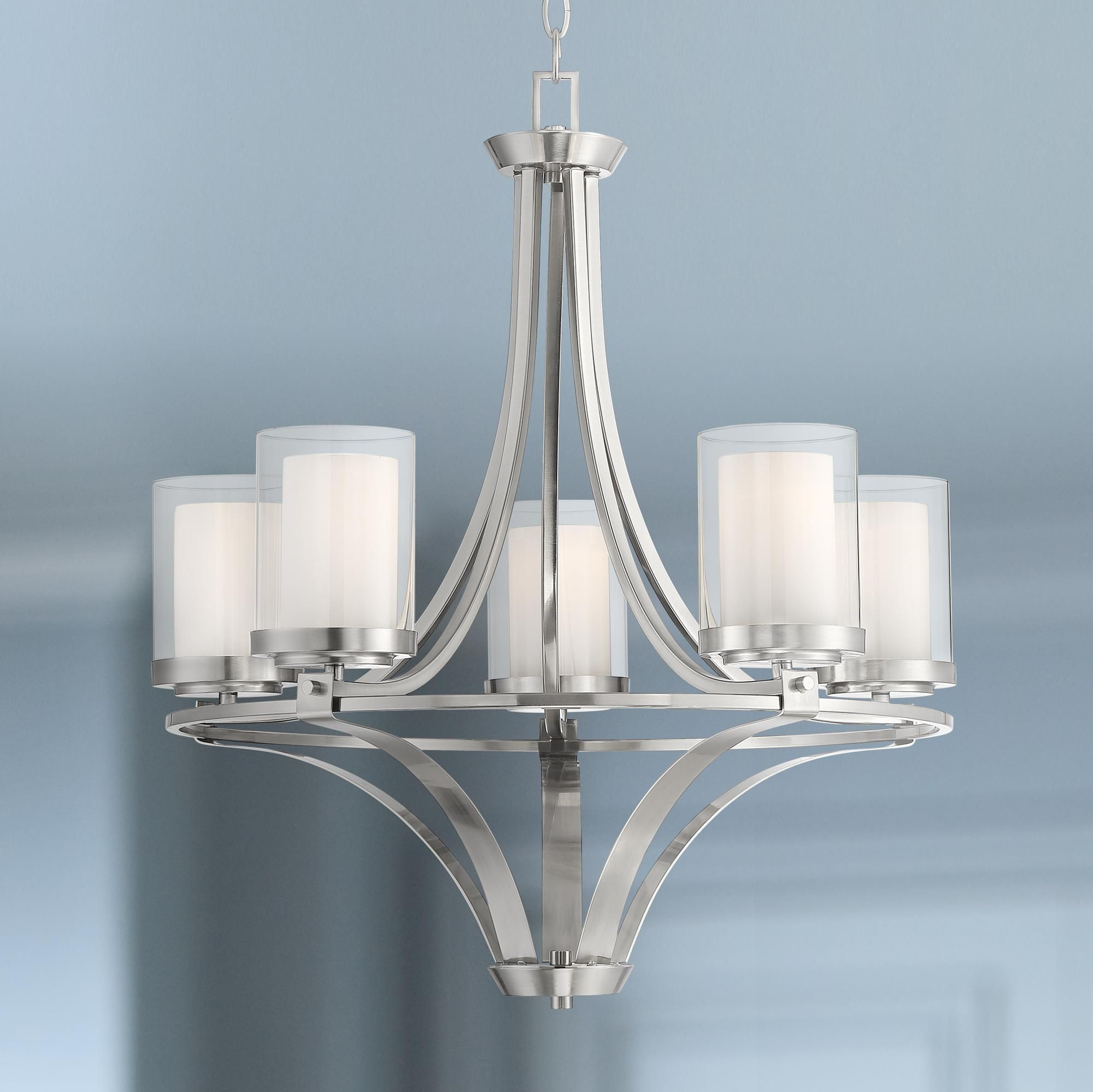 Opaline 23 And One Half Inch Wide Brushed Nickel 5 Light