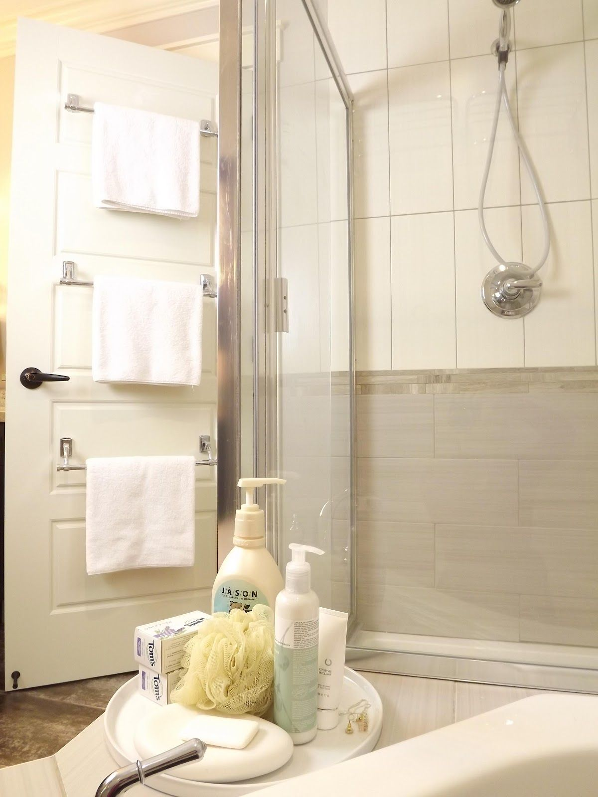 Attach Multiple Towel Bars To The Back Of The Bathroom Door For - Towel rails for small bathrooms for small bathroom ideas