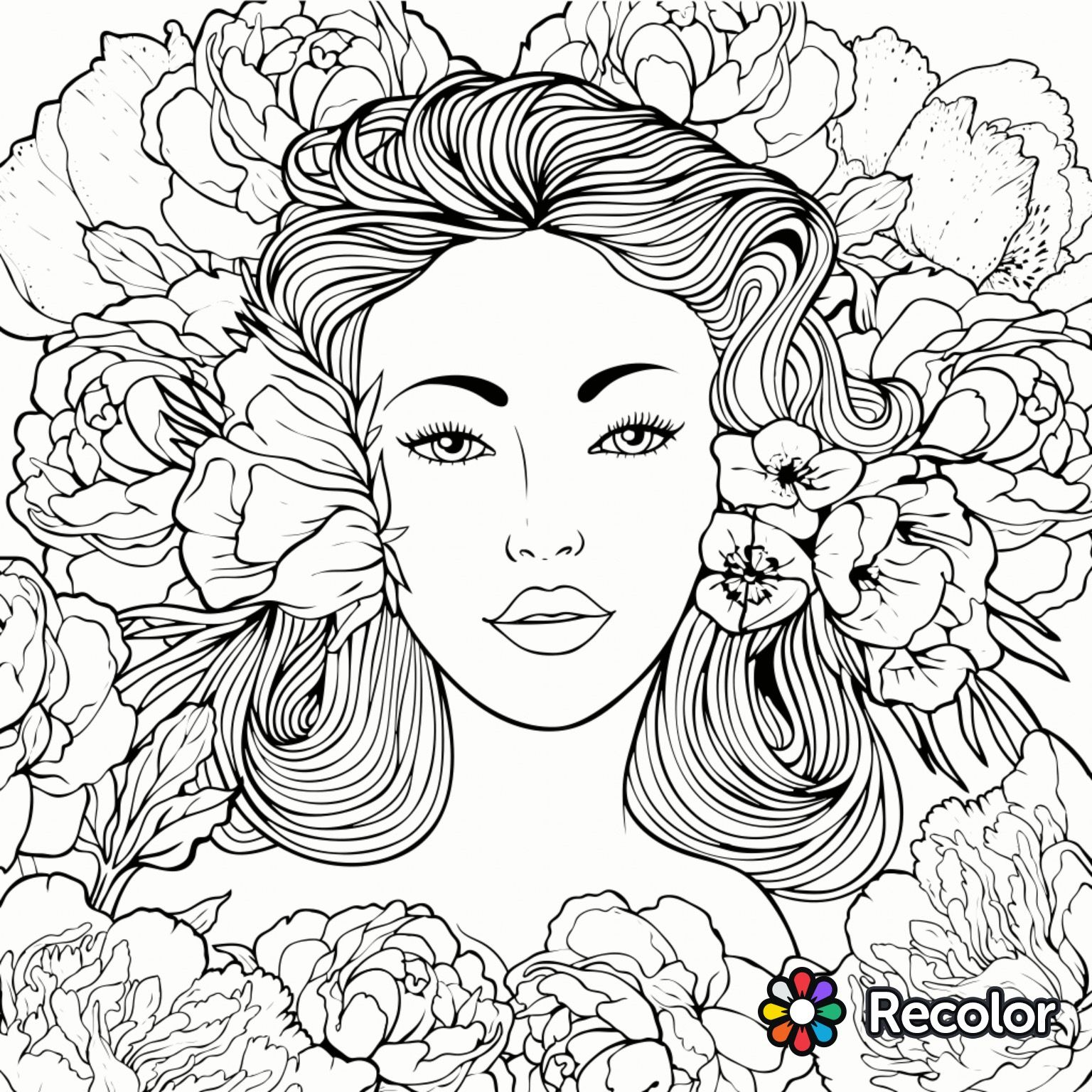 Beauty coloring page | Recolor app | Beautiful Women Coloring Pages ...
