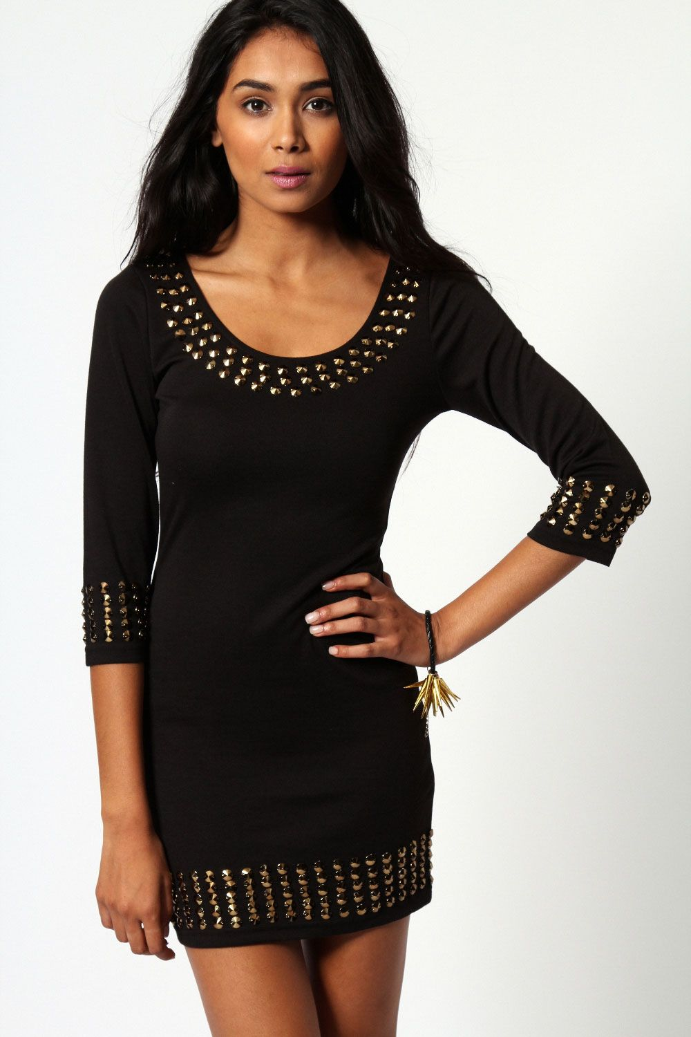 Laura long sleeve bodycon gold stud detail must buy pinterest