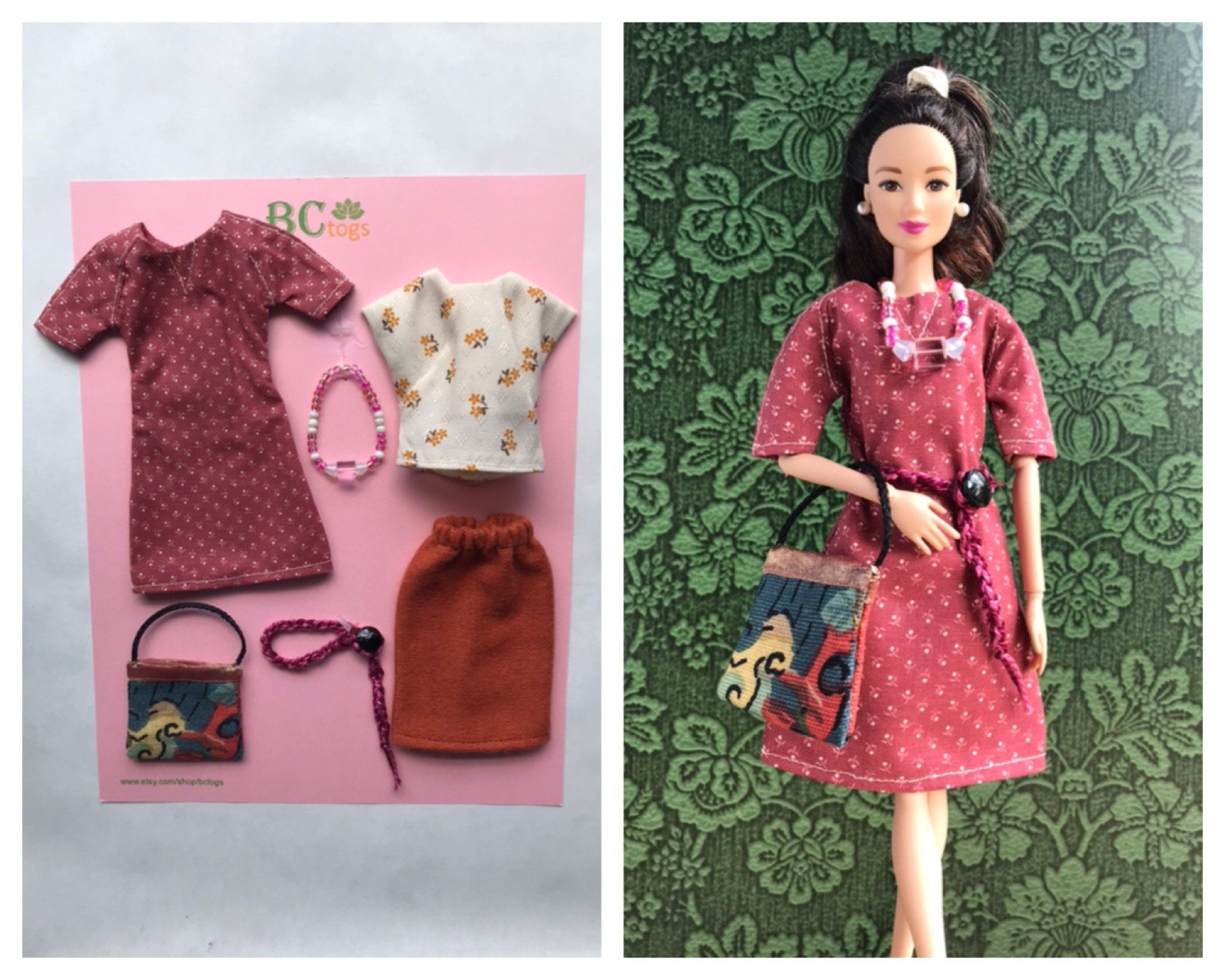 Handmade Barbie Outfit with Accessories . Barbie Clothes . Barbie Doll Clothes. Barbie Doll Outfit.  Barbie Fashions #crochetedbarbiedollclothes