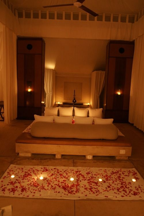 Rose Pedals And Candles Valentine Bedroom Decor Romantic