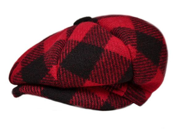 Outdoor Cap Short-Billed Cap with Ear Flaps Polyester Red Flannel 0011b3f3fece