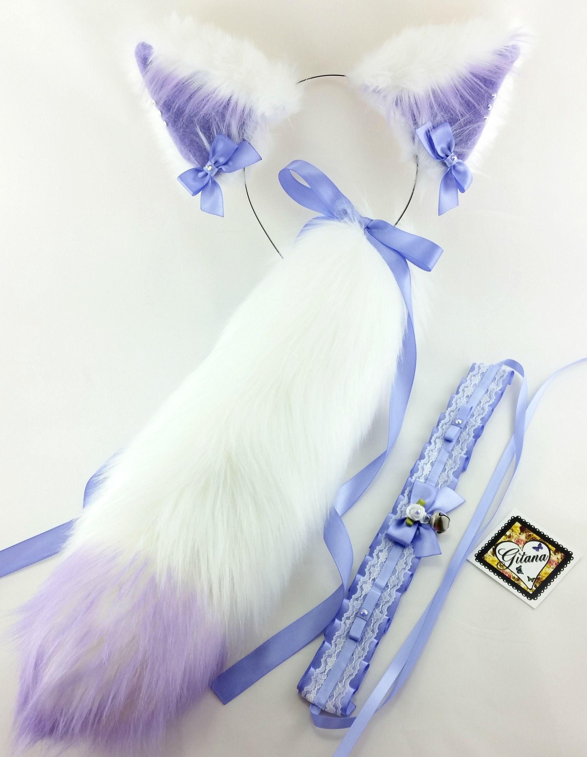 cat ear headband, tail and choker set,cat costume, cat ears, cat