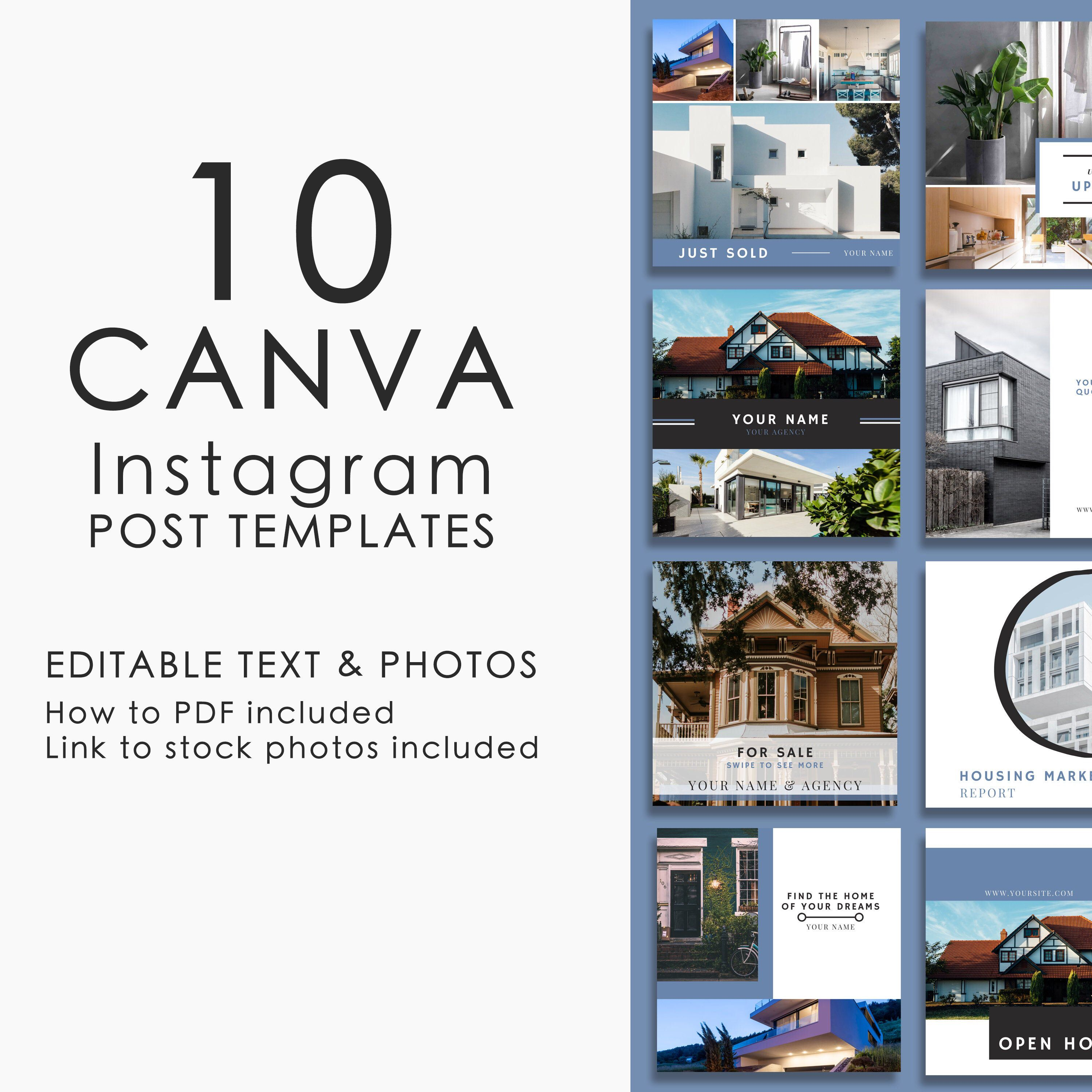 Real estate template, Marketing template, Canva template, Instagram graphics, Instagram template, Instagram feed, Social media kit