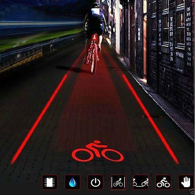 Cycling Bicycle Bike Rear Tail Safety Warning 5 LED 2 Laser Flashing Lamp Light