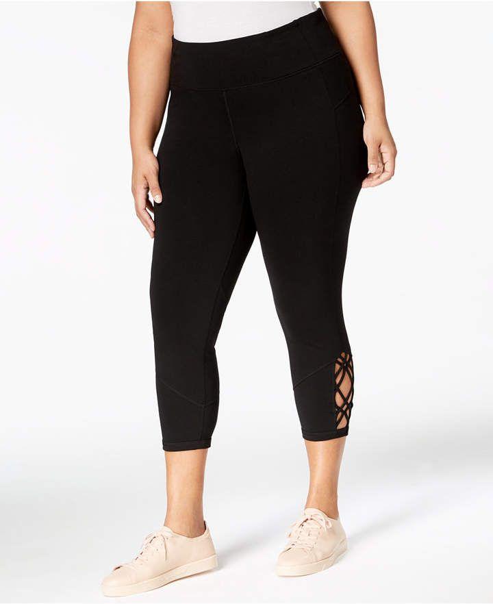 258945fc93b Calvin Klein Performance Plus Size High-Rise Macramé Cropped Leggings -  Pants   Capris - Plus Sizes - Macy s