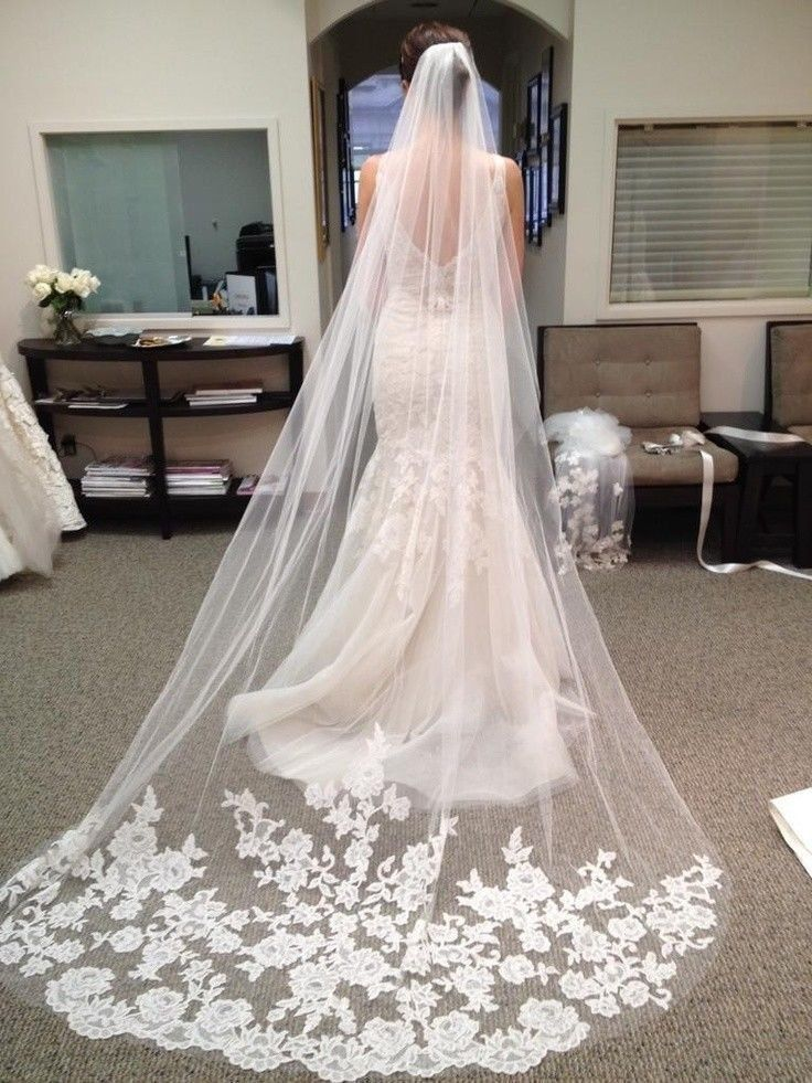 Classic White Ivory Lace Edge Cathedral Length Wedding Bridal Veil With Comb