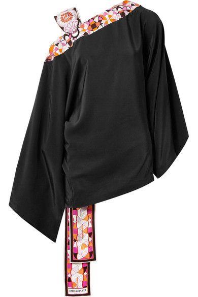 32ab0b2b3299f Emilio Pucci - Printed Satin Twill-trimmed Silk Crepe De Chine Blouse -  Black