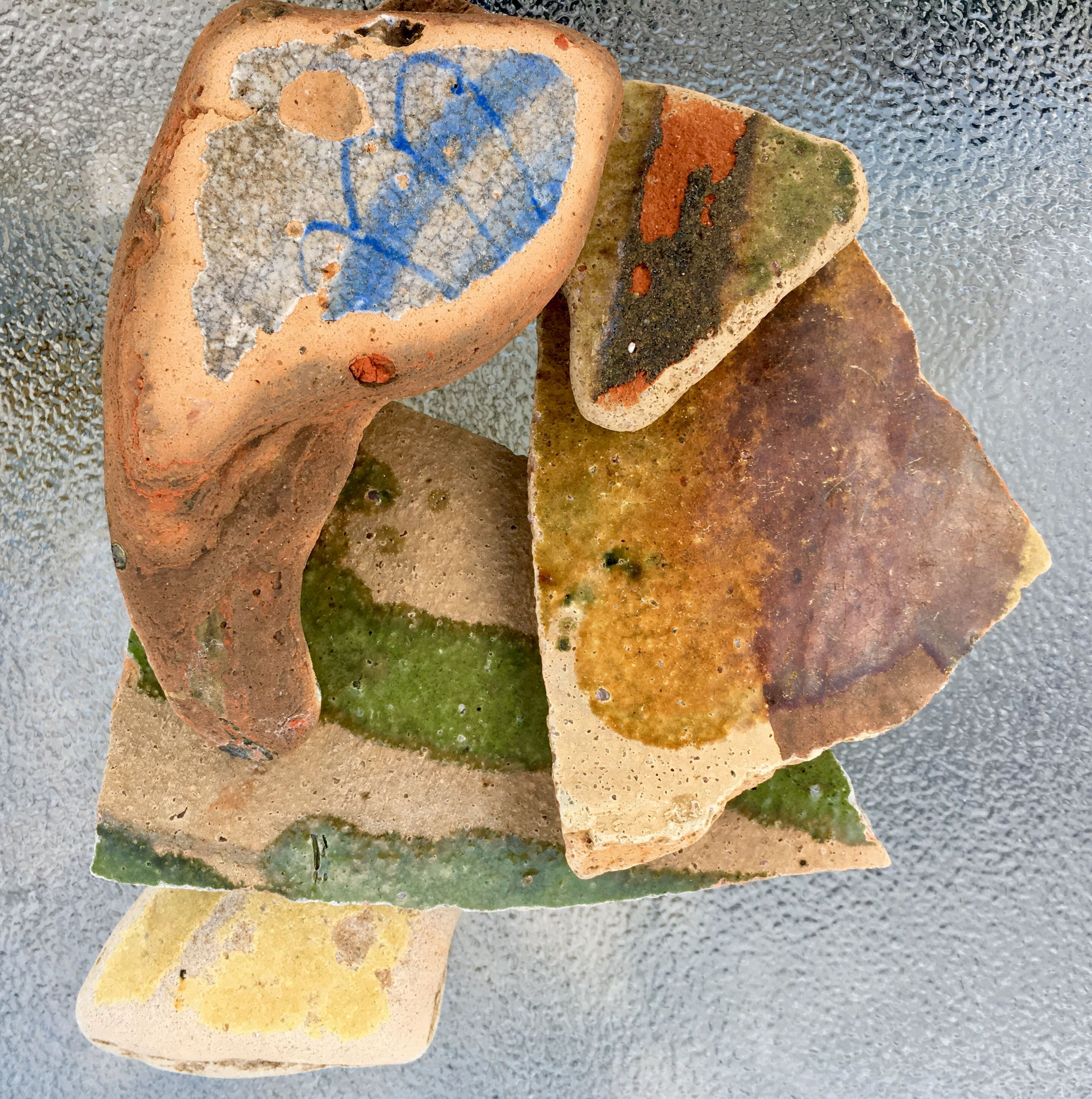 Medieval Pottery Sherds and Delft