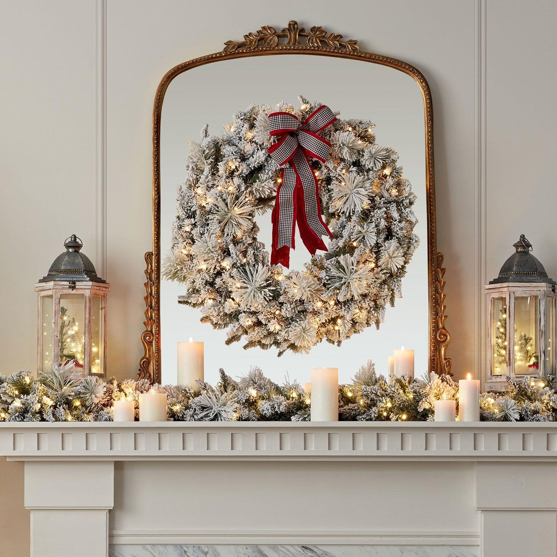 """Sams Christmas Trees: Member's Mark 39"""" Pre-Lit Flocked Wreath"""