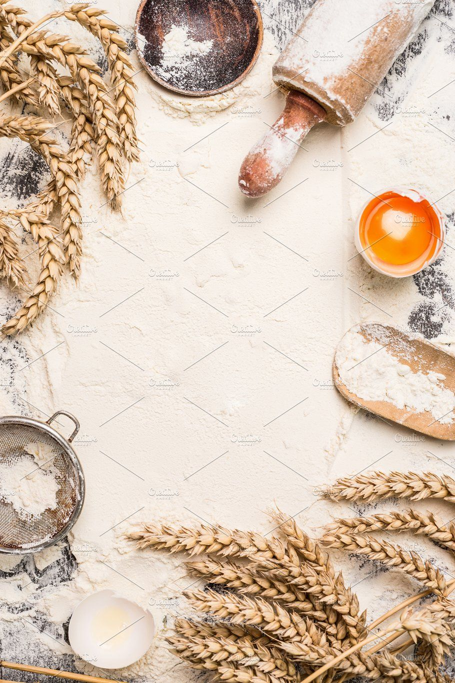Bake Background With Flour And Egg Baking Flour Baking Wallpaper Food Background Wallpapers