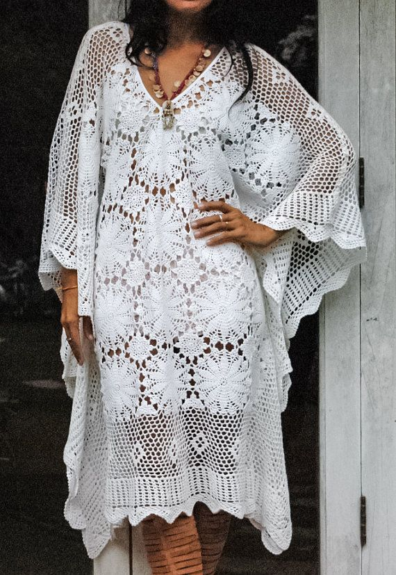 Fairytale Boho Crochet Long White Kaftan. Crochet Maxi Dress ...