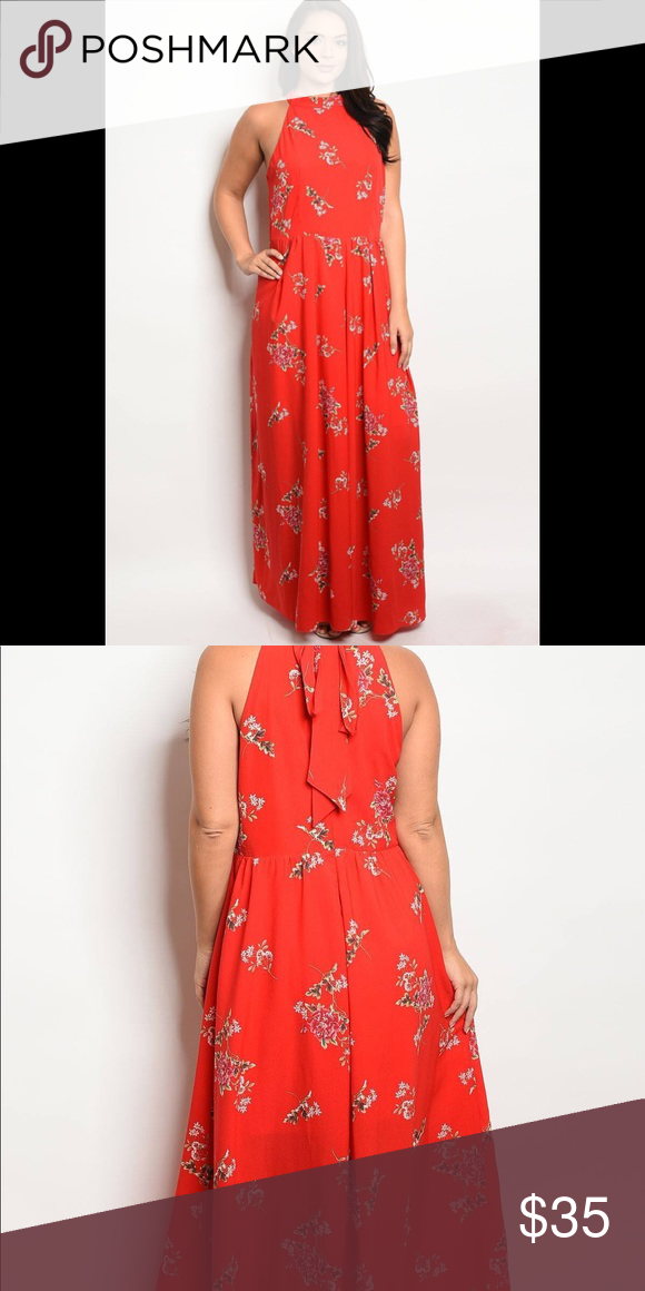 "Floral Print Maxi Gown Imported  1XL.2XL.3XL 100% Polyester Red  WFS Ladies fashion plus size sleeveless maxi gown with boat neckline and floral print details Item Measurements: SIZE 1XL Measurements: SIZE 1XL Length:63"" Waist:19"" Bust:21"" Dresses Maxi"