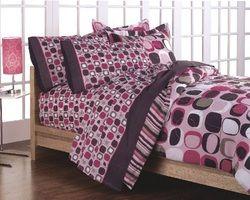 Opus Geometric Circles Bed In A Bag Set Pink 5 Pcs Twin Girls