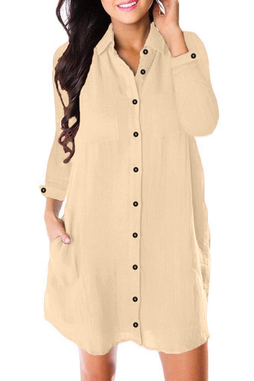 Apricot Crepe Button Long Sleeve Down Dress Shirt Mini Shirt Dress Shirt Dress Fashion [ 1500 x 1001 Pixel ]