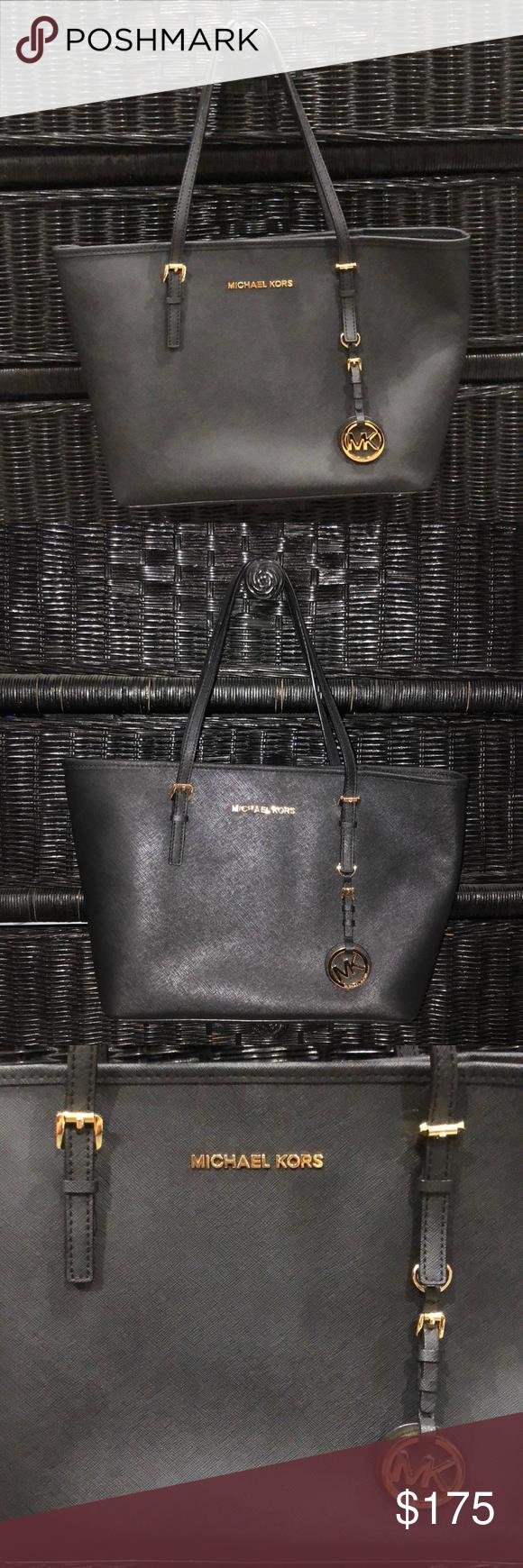 47aca045d5 Michael Kors Handbag MK Purse Saffiano Leather Bag Michael Kors Handbag MK  Purse Jet Black Saffiano