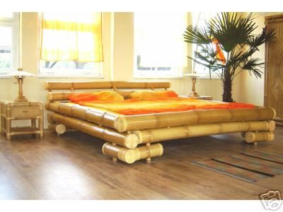 Bamboo Style Bed With Soft Warm Colors On Sheets And Bedding