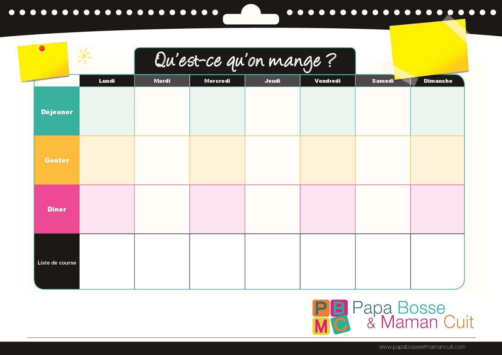 Préférence Modèle de menu de la semaine à imprimer.Planning de repas sous  AO82