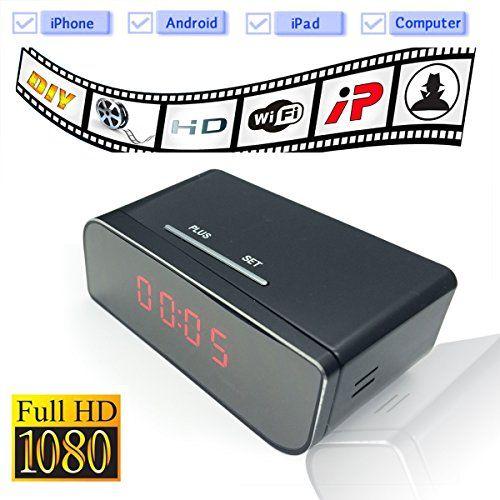 WiFi Mini Spy Camera Alarm Clock Nanny Cam with