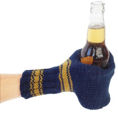 Knit Drinking Mitt Dark Blueyellow Suzy Kuzy Beer Mitt Beer