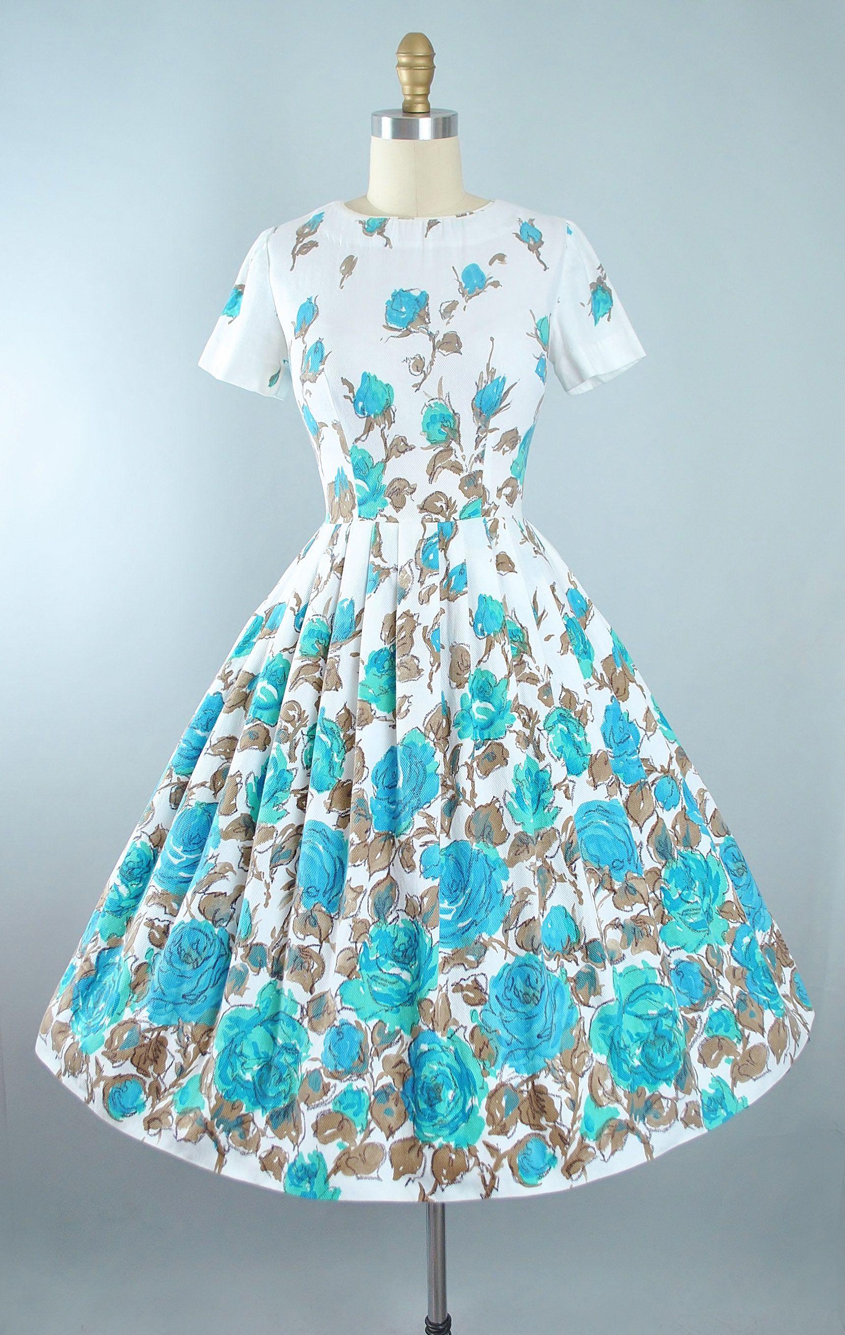 1950s rose print sun dress cotton very pretty