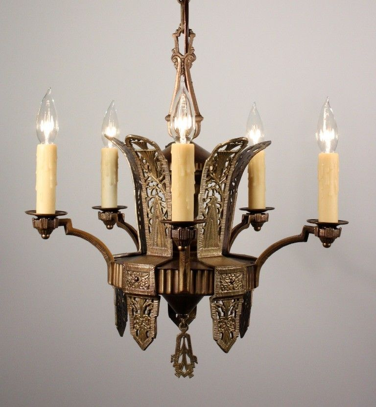 Sold splendid antique art deco five light chandelier in bronze sold splendid antique art deco five light chandelier in bronze brass c aloadofball Gallery