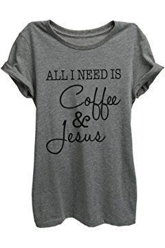 All I Need Is Coffee and Jesus Relaxed T-Shirt Tee- Women - Deep Heather Grey