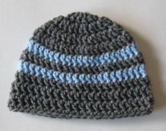 dfbb06ec8182 Bébé garçon Bonnet, chapeau de bébé au Crochet, bonnet nouveau-né, bébé  nouveau-né chapeau, chapeau bébé garçon gris chapeau bleu, nouveau-né bébé  ...