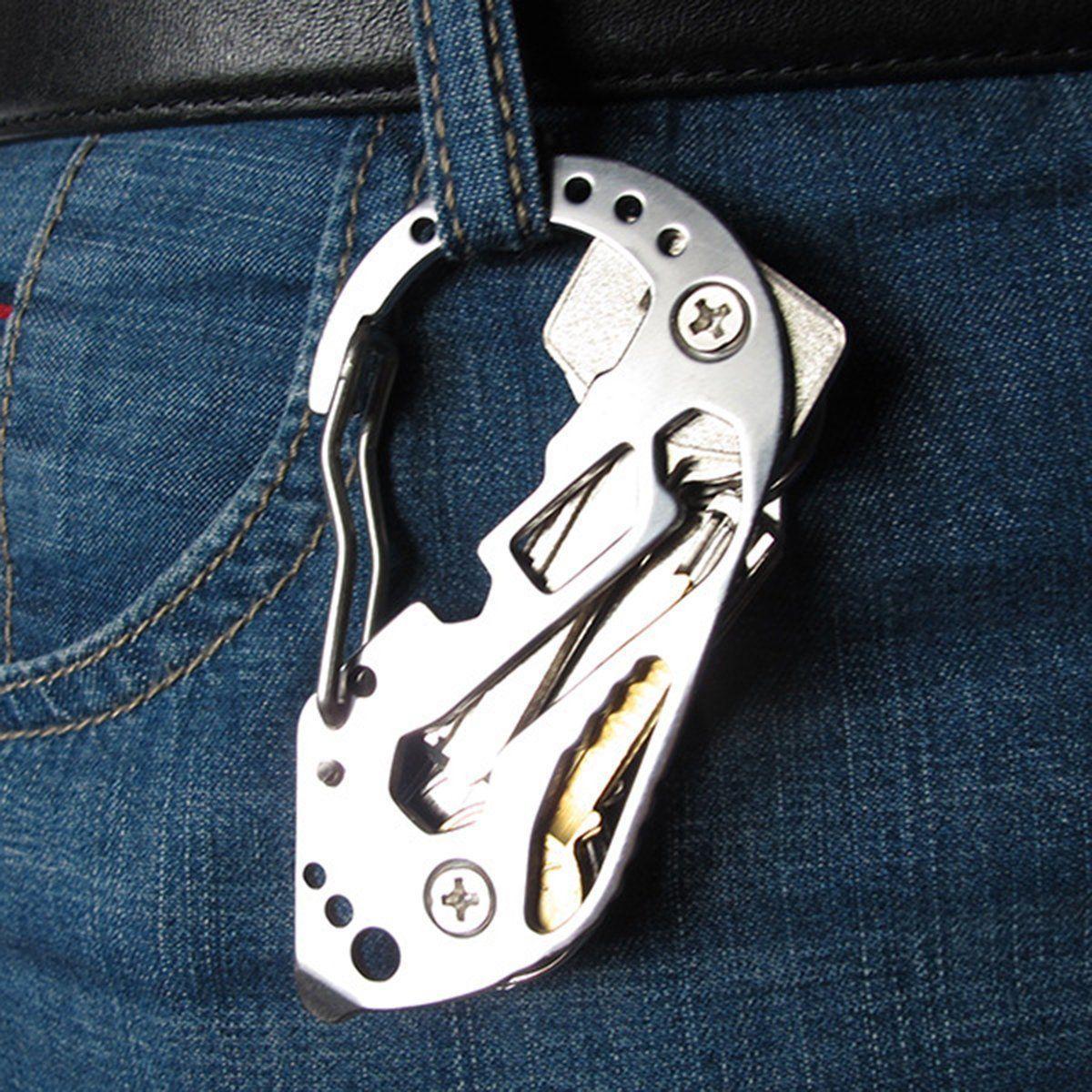 Edelstahl Multitool Schlüsselanhänger Karabiner Werkzeug Outdoor Camping EDC