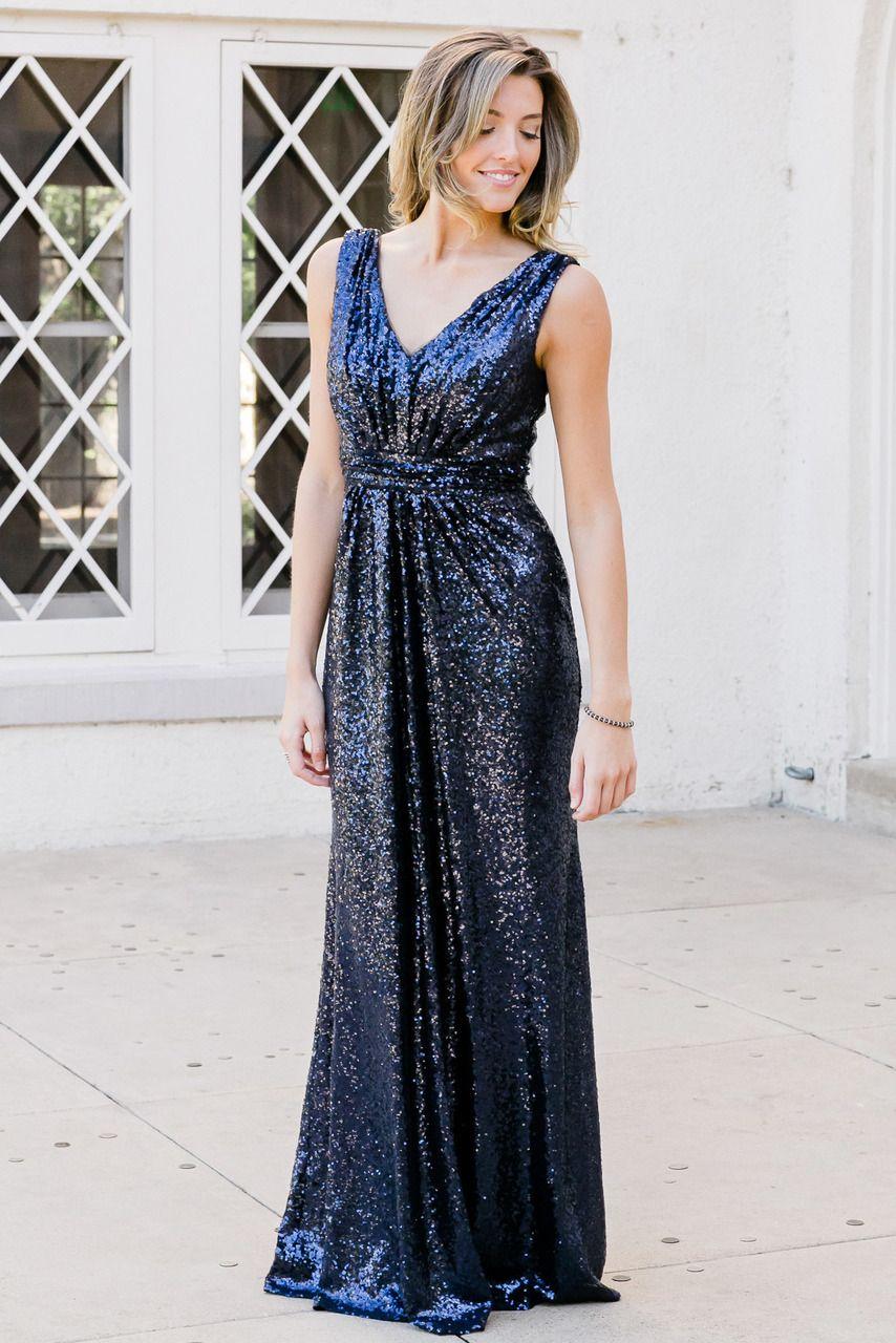 Bijou Sequin Dress In 2020 Navy Bridesmaid Dresses Sequin