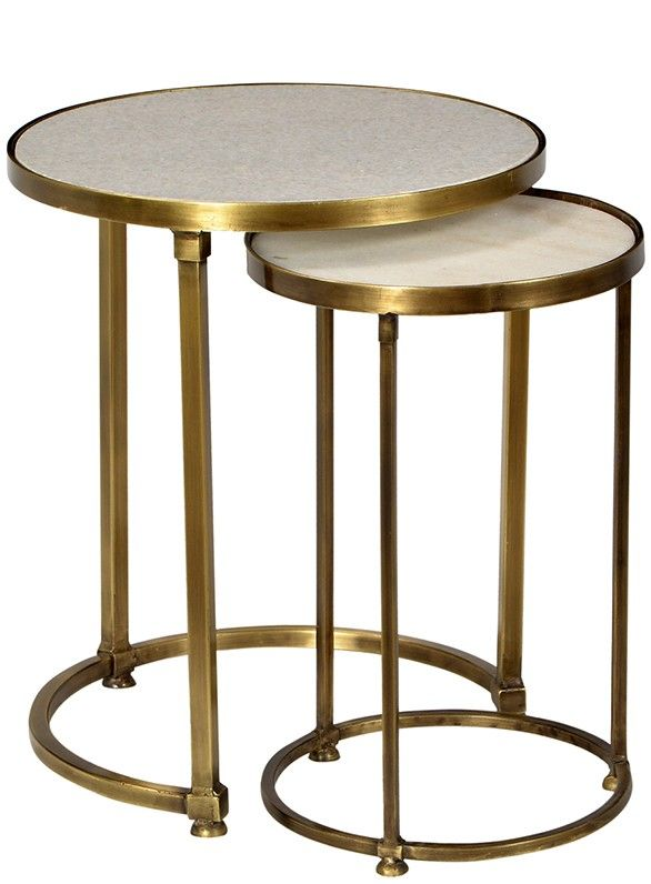 Best Audrey Marble And Antiqued Brass Side Table Set Brass 400 x 300