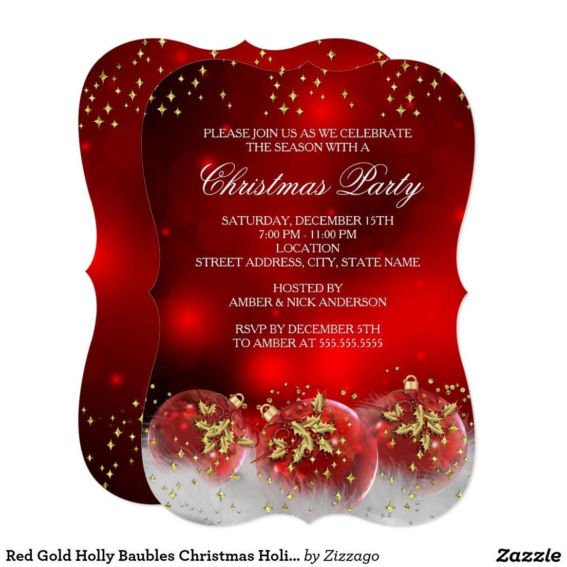 Red Gold Holly Baubles Christmas Holiday Party Card | Christmas ...
