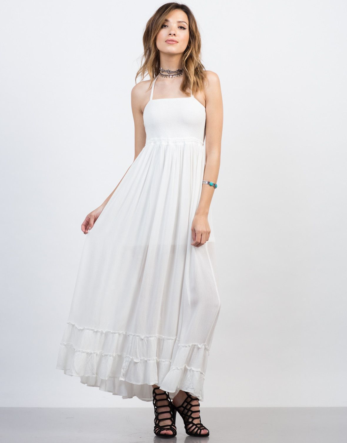 d00c3d6d8c9 Summer vacation is here and this Frilly Halter Maxi Dress screams vacation.  This dress looks perfect when paired with stacked bracelets