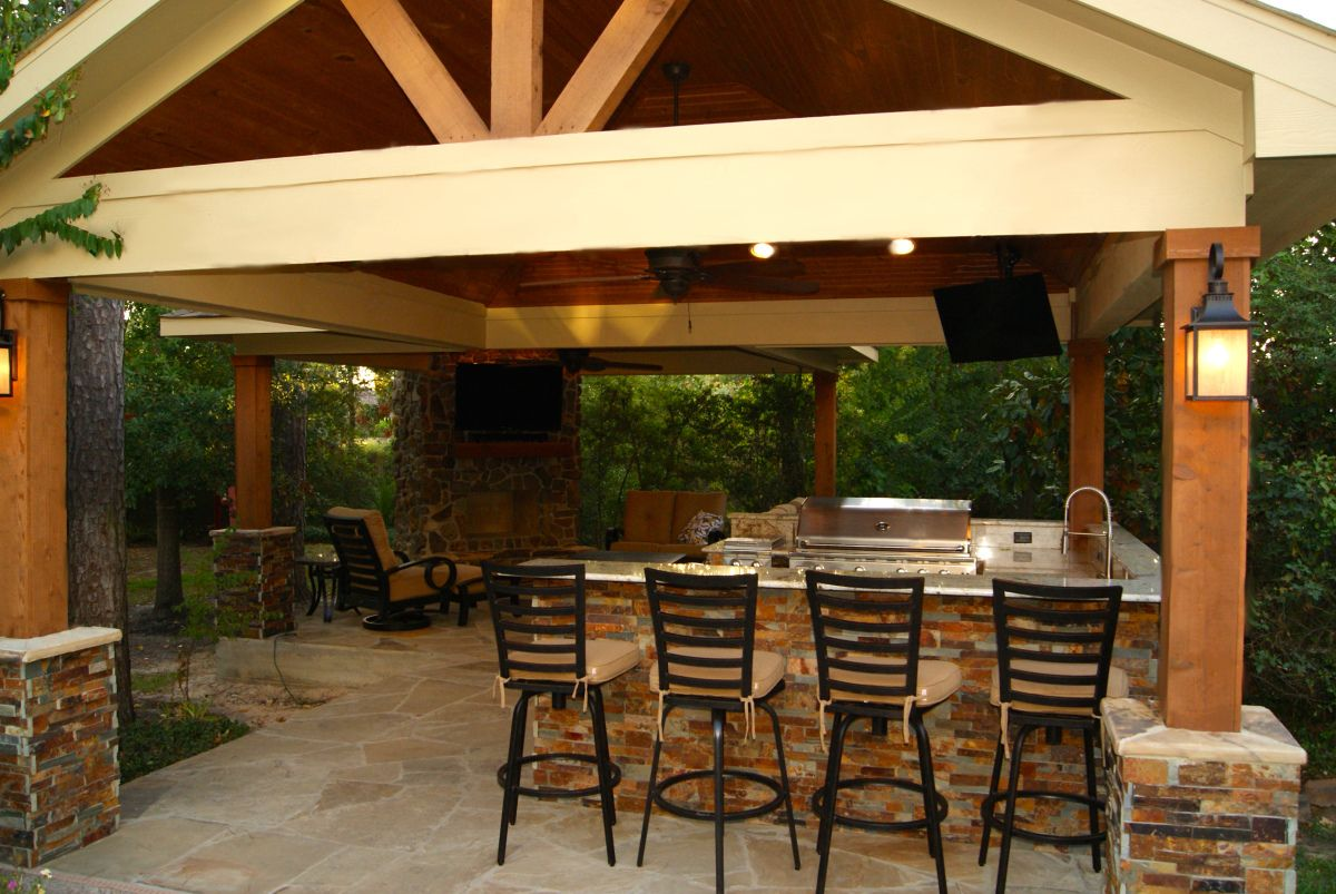 Freestanding Patio Cover With Kitchen Fireplace In The Woodlands Patio Fireplace Outdoor Fireplace Brick Fire Pit Patio