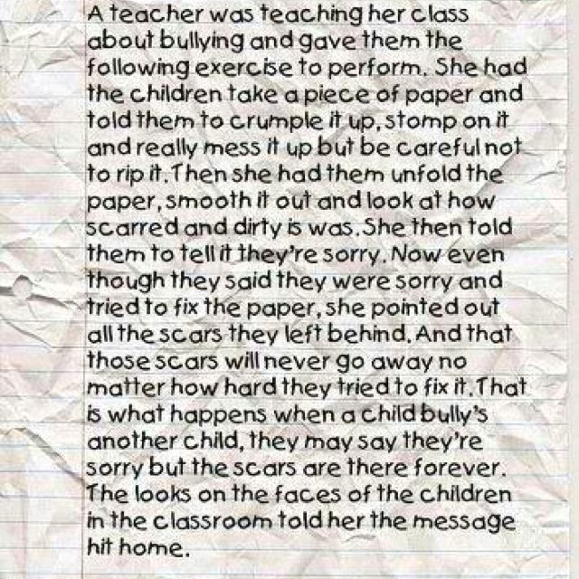 the crumpled paper lesson and bullying from happy children and families example to teach kids lasting impact and scars of unkind words actions - Bullying Essay Examples