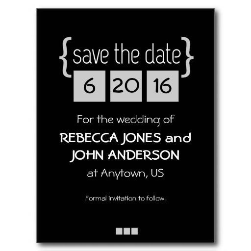 Black and gray Save the Date postcard