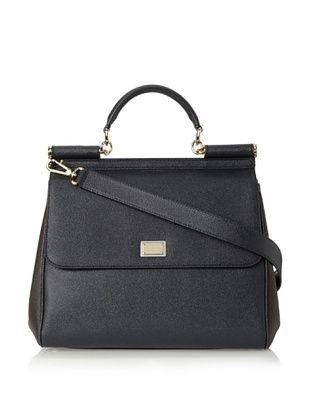 d63d990d243 Dolce & Gabbana Women's Miss Sicily Bag, Navy/Brown, One Size ...