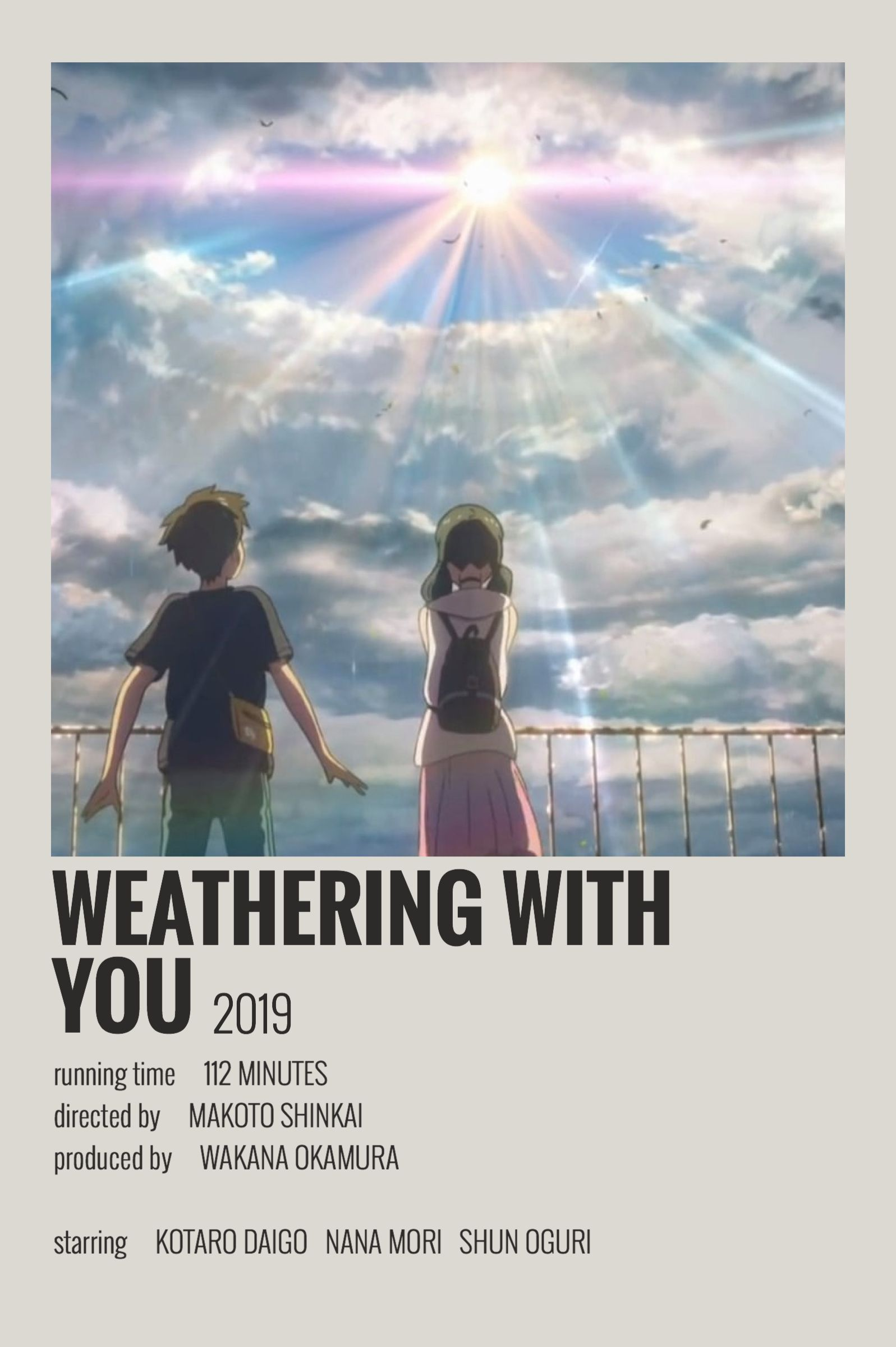 Weathering With You By Maja In 2020 Film Posters Minimalist Movie Posters Minimalist Movie Poster Wall