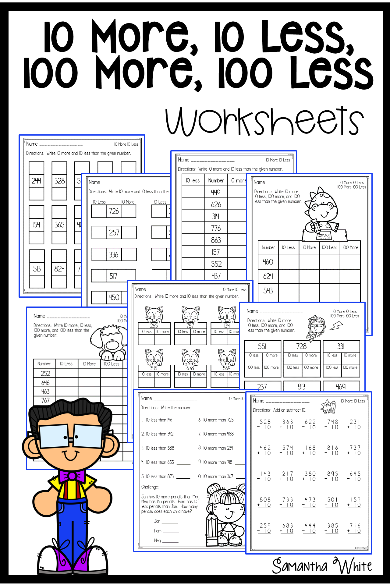 10 More 10 Less 100 More 100 Less Worksheets